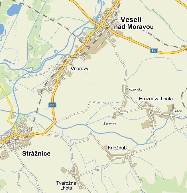 Mapa okolí obce